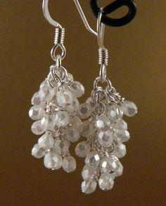 Pearl White Glass Cascade Dangle Earrings by MaryMorrisJewelry, $17.00 #white earrings  #bridal earrings  #wedding jewelry  #handmade #earings