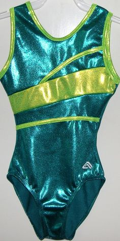 "Discount Gymnastics Leotards | ... "" teal and chartreuse mystique holograms tank gymnastics leotard"