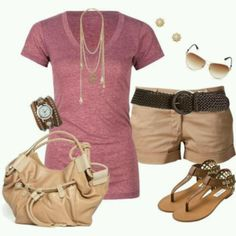 Cute and casual summer outfit. But longer shorts for crying out loud