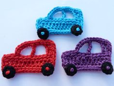 Crochet applique 3 Small crochet cars cards by MyfanwysAppliques
