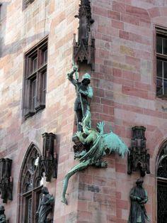 St. George fights the dragon on Saarbruecken's Rathaus (ca. 1900), Saarbruecken, Germany