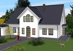 Mehrgiebelhaus Vorderansicht – Hauseingang im Frontgiebel