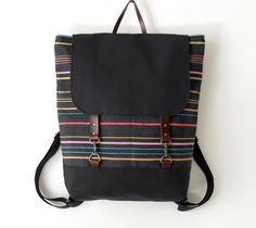 Multi Color Yarn Stitch Backpack / Laptop bag / Diaper bag / leather closure / front pocket,  Design by BagyBags on Etsy, $95.70