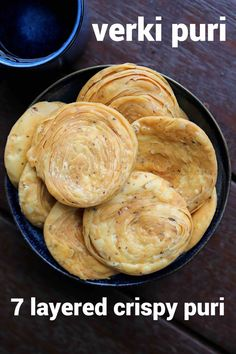 verki puri recipe, how to make crispy varki puri, verki snack with step by step photo/video. crispy & flaky snack recipe with plain flour, pepper & cumin. Puri Recipes, Paratha Recipes, Spicy Recipes, Cooking Recipes, Cooking Tips, Snacks Recipes, Comida Diy, Tandoori Masala, Chaat Recipe