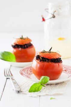 Stuffed Tomatoes with Black Rice & Basil at Cooking Melangery