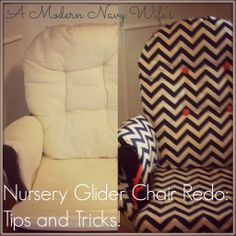 A Modern Navy Wife : Glider Chair Re-do Cover an old glider with navy fabric? Recover Glider Rocker, Glider Redo, Chair Redo, Chair Makeover, Furniture Makeover, Nursery Glider Chair, Rocking Chair Nursery, Glider Cushions, Rocking Chair Cushions