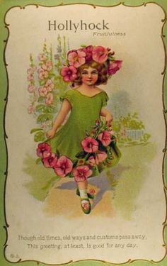 Vintage Postcard My mother used to grow the most amazing Hollyhocks, do not see them much now. Decoupage Vintage, Vintage Diy, Vintage Ephemera, Vintage Paper, Poster Vintage, Vintage Prints, Vintage Pictures, Vintage Images, Vintage Illustration