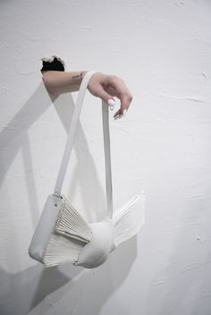 Faustine Steinmetz, London SS 2016 Faustine Steinmetz, Leather Bag, White Leather, Fabric Manipulation, John Galliano, Proenza Schouler, Bucket Bag, My Design, Women Wear