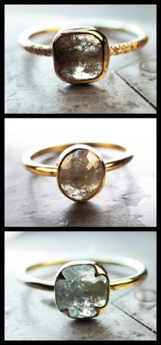 Three handmade natural rose-cut diamond engagement rings in yellow gold by ChincharMaloney.