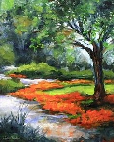 Walk With Me - Tulip Path of the Dallas Arboretum by Texas Flower Artist Nancy Medina, painting by artist Nancy Medina #artpainting