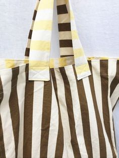 Market Bag Tote Yellow and Brown Stripes Carry all tote - zipper closure ($30)