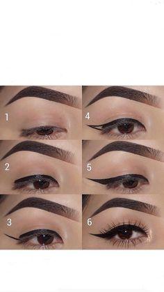 Cute Eye Makeup, Gold Eye Makeup, Dramatic Eye Makeup, Cat Eye Eyeliner, Hooded Eye Makeup, No Eyeliner Makeup, Makeup Tips, Beauty Makeup, Eyeliner Stencil