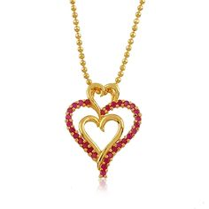 24K Yellow Gold Plated Ruby Corundum Triple Heart Pendant Necklace ~ Just click on picture 2x to be taken to the item to be purchased!