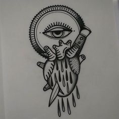 #flash #tattoo #inspiration #dagger #eye #heart #knife @pepevillaverde