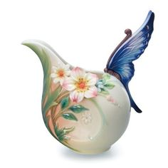 """Franz Collection """"Fluttering Beauty"""" Flower and Butterfly Porcelain Creamer"""