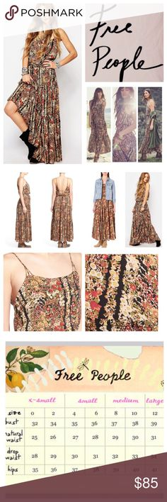 """Free People Valerie Blouson Floral Maxi Dress. NWT Free People Valerie Floral Blouson Printed Maxi Dress, 100% rayon, machine washable, 18"""" armpit to armpit (36"""" all around) 31"""" waist, 53"""" length, spaghetti straps, pullover, square neck, ties at waist, partially lined, ruffles, strappy back, measurements are approx.  NO TRADES Free People Dresses Maxi"""