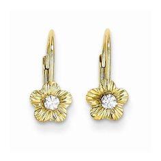 $137 14k Madi K Flower w/CZ Leverback Earrings