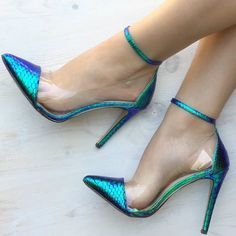 Ankle Strap Snakeskin Pumps
