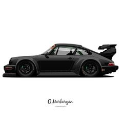 RWB Porsche 964 Pandora One (new Black Version) vector art. Porsche Autos, Porsche Sports Car, New Sports Cars, Porsche Cars, Car Vector, Vector Art, Porche 911, Car Illustration, Transporter