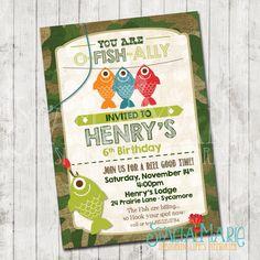 Boys Fishing Birthday Invitation by StaciaMarieDesign on Etsy https://www.etsy.com/listing/262746317/boys-fishing-birthday-invitation