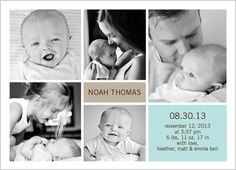 Sweet Moments Boy  Birth Announcement