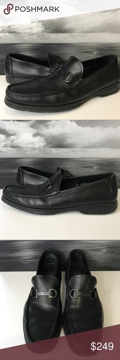 """Salvatore Ferragamo Black Tonal Bit Dress shoes 13 A tonal Gancini buckle effortlessly blends in on this slightly sporty Salvatore Ferragamo loafer.  - Glossy leather upper. - Apron toe. - Black signature Gancini buckle atop Venetian vamp. - 1"""" flat rubber sole with Gancini embossing. - Padded insole. - """"Street"""" is made in Italy.  Condition: Good pre-owned condition. There is some wear on the heels as shown. Minor inside and bottom wear.  Approximate measurements: length: 13"""" width: 4.5""""…"""