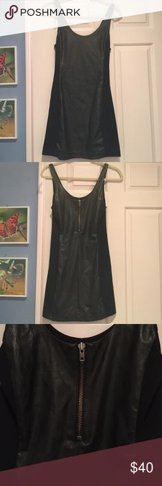 Black Free People Dress Leather material on the front and back with a zipper in the back for easy on/off, only worn a couple times and in great condition! Free People Dresses