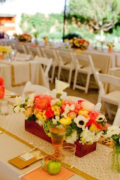 I love this wedding and these flowers and I think the tables are ridiculously cute.