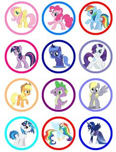 MY LITTLE PONY Edible Image Cupcake Toppers  Birthday cupcakes or any dessert                                                                                                                                                     More