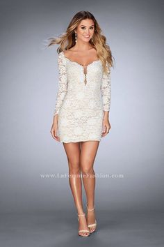 576798ea162c1 La Femme 25038 is a lace slim short homecoming dress with a plunging  neckline