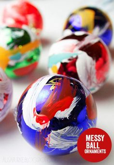 alisaburke: crafting with a kid messy ball ornaments
