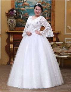 A-line Wedding Dress-White Floor-length Square Lace / Tulle 4945610 2016 – $159.99