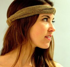 Head Wrap Women's Taupe Headband, Hair Wrap, Head Wrap with Elastic Back for Women. Taupe and gold. Loose Hairstyles, Headband Hairstyles, Head Wrap Headband, Top Knot, Turban, Head Wraps, Hair Band, Looks Great, Taupe