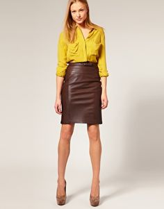 Just bought a brown leather pencil skirt. Brainstorming time! Like the yellow.