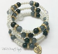 GreyBlack and White Beaded Coil Bracelet by RandRsWristCandy