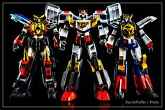 The Three Braves.... King of Braves GaoGaiGar, Brave Police J-Decker, and Brave Express Might Gaine. #anime #toys #actionfigures #bravepolice #braveexpress #kingofbraves #gaogaigar #mightgaine #J-decker #photography #superrobotchogokin #bandai