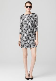 JULIA 3/4 SLEEVE DRESS by Milly. Print. Silhouette. Sunglasses. Ponytail. Approved.