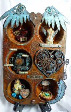 February challenge time over at Creative Embellishments Altered Tins, Mix Media, Fun Crafts, Arts And Crafts, February Challenge, Monthly Challenge, Shadow Box Art, Tin Art, Journaling