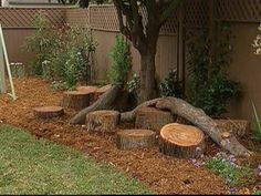 I love this small natural play area.  Balance beam, hoping stumps digging,  dump trucks,  etc                                                                                                                                                                                 More