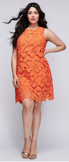 Available in Plus Size. Brighten things up in this vibrant lace shift dress by Julia Jordan (and just try to take your eyes off that scalloped hem). Button keyhole back. ITEM Imported plus size dress, Sizes: 14 - 28 Moda Plus Size, Trendy Plus Size, Plus Size Women, Plus Size Dresses, Plus Size Outfits, Cute Dresses, Curvy Girl Fashion, Plus Size Fashion, Womens Fashion