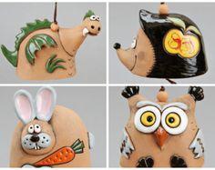 Ceramic Animal Bells : Dragon, Hedgehog, Rabbit, Owl Bell, School Accessory, Birthday Gift, Home Decor, Children Mobile, Wind Handmade Bell