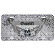 Custom Monogram Chrome Diamond Plate License Plate