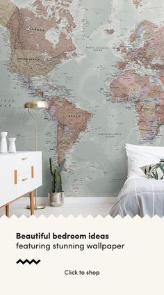Quality Classic World Map Mural, custom made to suit your wall size, and fully customisable. A classic wallpaper style that will be timeless in your space. World Map Painting, World Map Mural, World Map Wallpaper, Wall Wallpaper, Bedroom Wallpaper, World Map Decor, Painted Wallpaper, Bedroom Color Schemes, Bedroom Colors