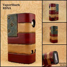 USA American Flag Custom Distressed Leather Vape / Vaping Sleeve Case Wrap for Box Mod Vaporizer E-Cig ECig Electronic Cigarette