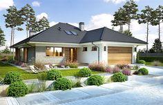 Projekt domu Piwonia 119,5 m2 - koszt budowy - EXTRADOM Simple House Plans, Beautiful House Plans, My House Plans, House Layout Plans, House Layouts, House Floor Plans, Modern Bungalow House, Bungalow House Plans, Single Storey House Plans
