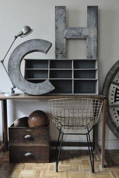 Mix & match vintage & modern when decorating your workspace.
