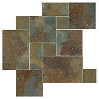 Copper Rust Large Versailles Pattern Slate Floor Tile $8.99 Sq Ft      Coverage 15.5 Sq Ft per  Box