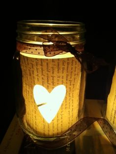 These adorable DIY book page mason jar candle holders are super simple to make!  You can also personalize them to fit your style or event.