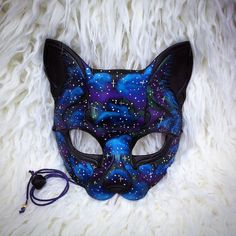 READY TO SHIP Galaxy Cat ...hand made leather mask by Merimask