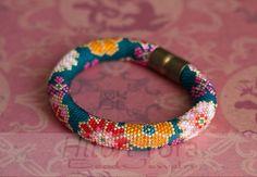 Red flowers print Colorful Boho bracelet Yellow Red Pink bracelet Seed bead rope pattern PDF Pattern for beaded crochet bracelet